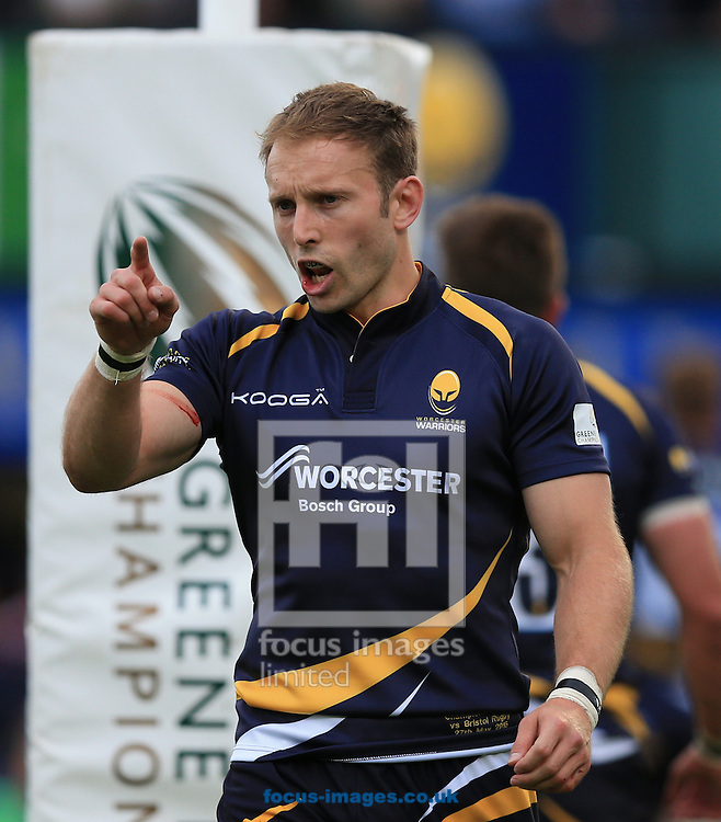 Chris Pennell of Worcester Warriors during the second leg of the Greene King IPA Championship Final at Sixways Stadium, Worcester<br /> Picture by Michael Whitefoot/Focus Images Ltd 07969 898192<br /> 27/05/2015