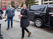 28 NOVEMBER 2019 - DES MOINES, IOWA: US Senator KAMALA HARRIS (D-CA) carries a basket of cookies while she walks to the finish area of the Turkey Trot. The Turkey Trot is an annual Des Moines Thanksgiving Day 5 mile fun run. Sen. Harris greeted runners in the finish area and handed out cookies. She is running to be the Democratic nominee for the US Presidency in 2020. Iowa hosts the first selection event of the presidential election season. The Iowa caucuses are February 3, 2020.         PHOTO BY JACK KURTZ