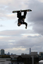 © Licensed to London News Pictures. 29/10/2011, London, UK.  Norway's Staale Sandbech jumps during the final of FIS Snowboard World Cup Bir Air competition at the Freeze Snowboard and Ski Festival at Battersea Power Station in London, Saturday, Oct. 29, 2011. Photo credit : Sang Tan/LNP