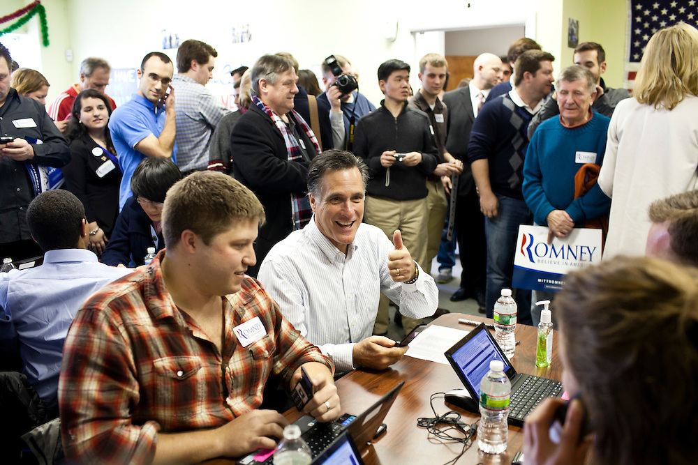 Republican presidential candidate Mitt Romney visits his New Hampshire campaign headquarters on Monday, January 9, 2012 in Manchester, NH. Brendan Hoffman for the New York Times