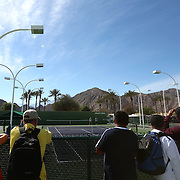 March 4, 2014, Indian Wells, California: <br /> Fans flock to the practice courts at the Indian Wells Tennis Garden. <br /> (Photo by Billie Weiss/BNP Paribas Open)