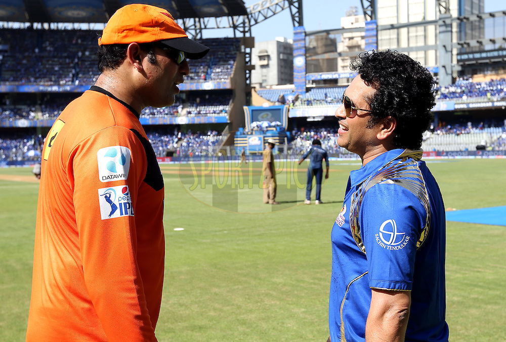 V. V. S. Laxman and Sachin Tendulkar icon of Mumbai Indians before the start of the match 23 of the Pepsi IPL 2015 (Indian Premier League) between The Mumbai Indians and The Sunrisers Hyferabad held at the Wankhede Stadium in Mumbai India on the 25th April 2015.<br /> <br /> Photo by:  Sandeep Shetty / SPORTZPICS / IPL
