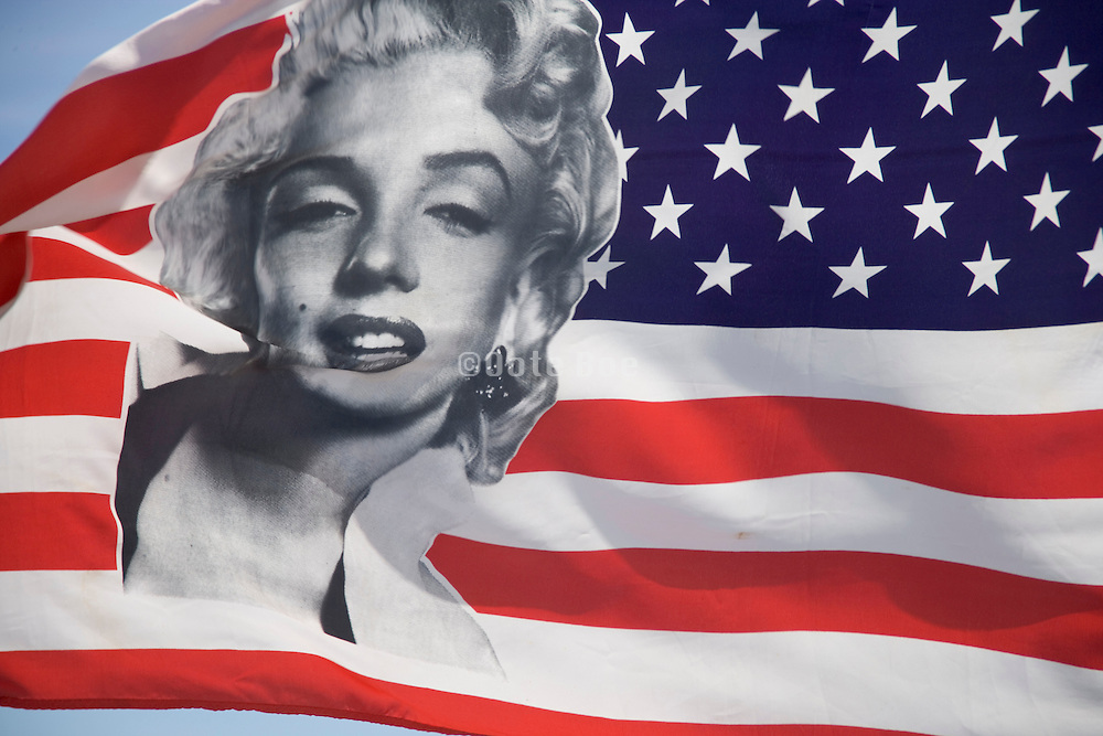 US Flag with a portrait of Marilyn Monroe printed on it