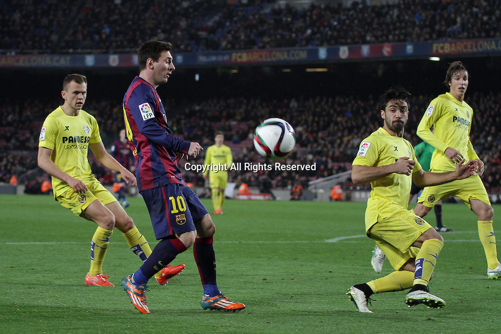 11.02.2015.  Barcelona, Spain. Copa del Rey Semi final 1st Leg. Barcelona versus Villarreal.<br /> Messi attempts to control the ball in the box
