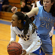 Laney's Briana Baham looks to pass around Hoggard's Jessica Benion Tuesday at Laney. (Jason A. Frizzelle)