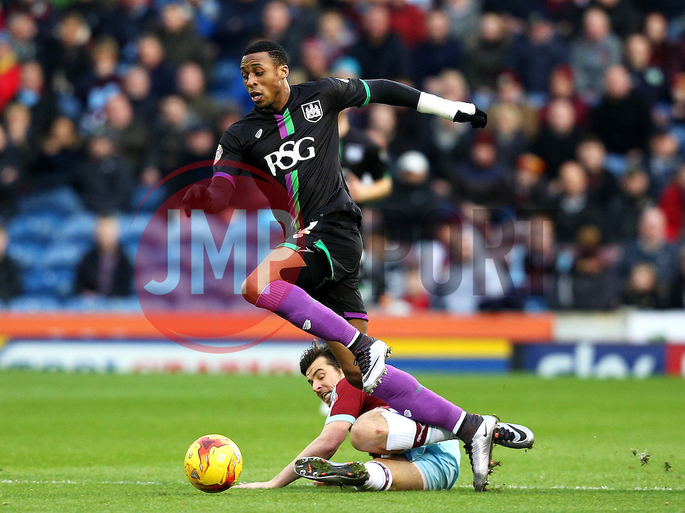 Burnley's Joey Barton tackles Jonathan Kodija of Bristol City  - Mandatory byline: Matt McNulty/JMP - 07966 386802 - 28/12/2015 - FOOTBALL - Turf Moor - Burnely, England - Burnley v Bristol City - Sky Bet Championship