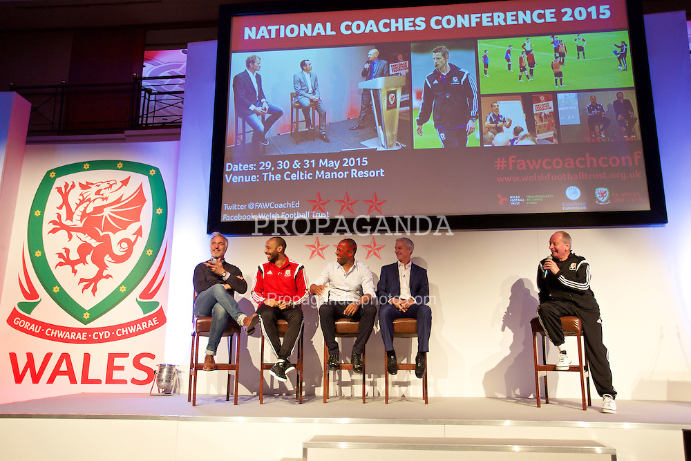 NEWPORT, WALES - Saturday, May 30, 2015: David Ginola, Thierry Henry, Les Ferdinand and Ian Rush with Lennie Lawrence during the Football Association of Wales' National Coaches Conference 2015 at the Celtic Manor Resort. (Pic by David Rawcliffe/Propaganda)