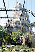 Low angle view of Vulture Aviary and Grand Rocher (Great Rock), Parc Zoologique de Paris, or Zoo de Vincennes, (Zoological Gardens of Paris, also known as Vincennes Zoo), 1934, by Charles Letrosne, 12th arrondissement, Paris, France, pictured on April 26, 2011 in the morning. In November 2008 the 15 hectare Zoo, part of the Museum National d'Histoire Naturelle (National Museum of Natural History) closed its doors to the public and renovation works will start in September 2011. The Zoo is scheduled to re-open in April 2014. Picture by Manuel Cohen.