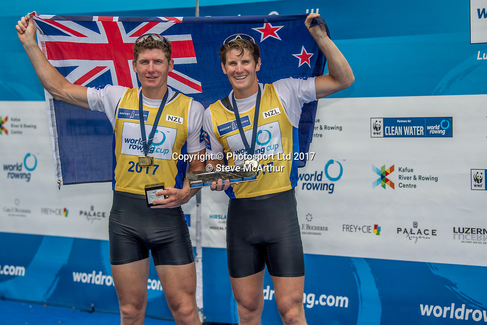 Chris Harris (Aramaho Wanganui RC) and John Storey (Avon RC) Mens Double Scull  winning the gold medal at WCIII on the Rotsee, Lucerne, Switzerland, Sunday 9th July 2017 © Copyright Steve McArthur / www.photosport.nz