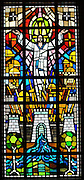 Stained glass image of the resurrected Jesus from Allouez Cemetery in Green Bay. (Photo by Sam Lucero)
