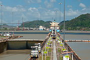 Cargo ship leaving Miraflores Locks. Panama Canal, Panama City, Panama, Central America.