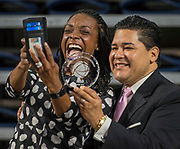 Houston ISD Superintendent Richard Carranza poses for a photograph with Monique Lewis during a Professional Leadership Series at Delmar Fieldhouse, April 5, 2017.