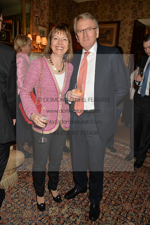 SIR CHRISTOPHER & LADY MEYER at a party to celebrate the publication of Right or Wrong: The Memoirs of Lord Bell held at Mark's Club, Charles Street, London on 16th October 2014.
