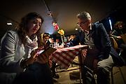 Frankfurt | 16 April 2017<br /> <br /> Aktivisten der Hayir-Initiative trafen sich am Abend des Verfassungsreferendums in der T&uuml;rkei im G&uuml;nes-Theater in Frankfurt am Main, um gemeinsam die Berichterstattung der Medien zum Referendum zu beobachten und das Ergebnis abzuwarten.<br /> Hier: Die hessischen Landtagsabgeordneten M&uuml;rvet &Ouml;zt&uuml;rk (l) und Turgut Y&uuml;ksel warten auf das Ergebnis des Referendums.<br /> <br /> photo &copy; peter-juelich.com<br /> <br /> Abdruck honorarpflichtig!<br /> No Model Release!<br /> No Property Release!