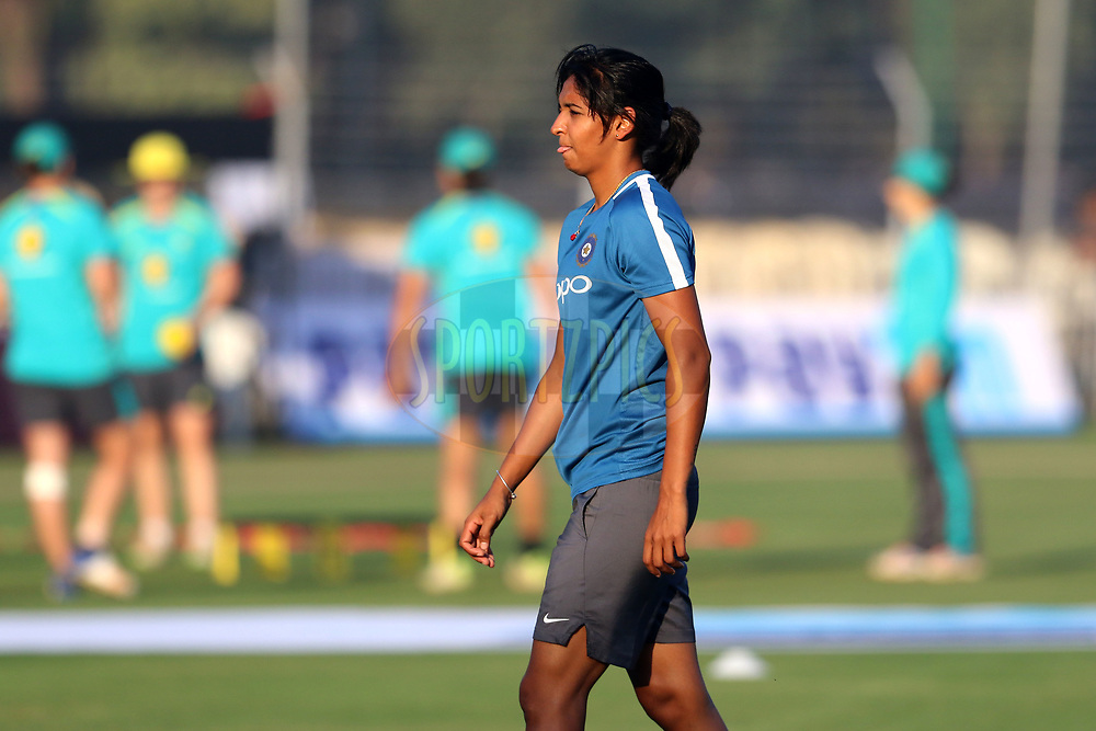 Harmanpreet Kaur of India before the start of the first women's one day International ( ODI ) match between India and Australia held at the Reliance Cricket Stadium in Vadodara, India on the 12th March 2018<br /> <br /> Photo by Vipin Pawar / BCCI / SPORTZPICS