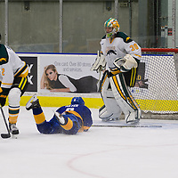 2nd year goalie Andy Desautels (30) of the Regina Cougars in action during the Men's Hockey Home Game on November 19 at Co-operators arena. Credit: Arthur Ward/Arthur Images