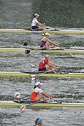 Lucerne SWITZERLAND,  W1X. Start of the first semi-final women's single sculls,  top down GER W1X. Carina BAER, RUS W1X, Julia LEVINA, BLR W1X, Ekaterina KARSTEN, CHN W1X, Xiuyun ZHANG, SWE W1X, Frida SVENSSON, at the   2011 FISA World Cup on the Lake Rotsee.  15:36:21  Saturday   09/07/2011   [Mandatory Credit Peter Spurrier/ Intersport Images]