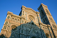Sunlight on Duomo Cathedral Church with blue sky Florence Italy