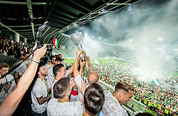 Filip Uremovic of NK Olimpija and other Players of Olimpija celebrate at trophy ceremony after winning during football match between NK Aluminij and NK Olimpija Ljubljana in the Final of Slovenian Football Cup 2017/18, on May 30, 2018 in SRC Stozice, Ljubljana, Slovenia. Photo by Vid Ponikvar / Sportida