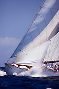 Mariella sailing in the Antigua Classic Yacht Regatta, Windward Race.