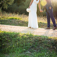 The bride and groom on their wedding day at Castell d'Emporada near Girona