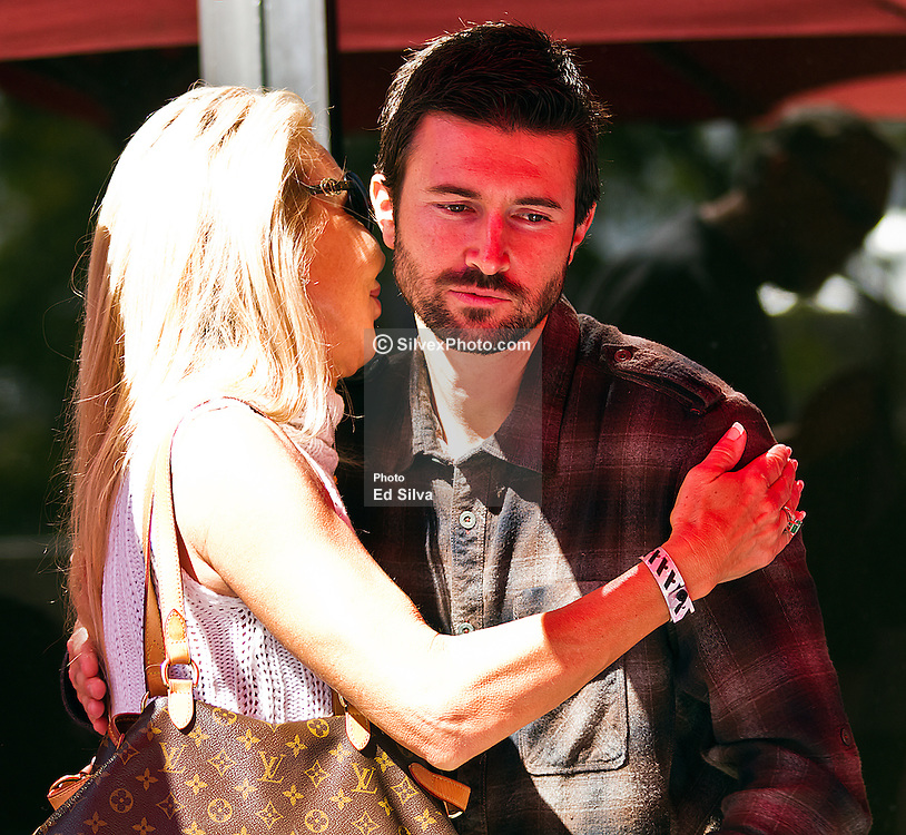 LONG BEACH, CA - APR 14:  Reality TV personality Brandon Jenner welcomes his mother Linda Thompson for lunch with his girlfriend Leah Felder and his Dad Bruce Jenner  at the 2012 Toyota Celebrity/PRO Race in Long Beach, CA. All fees must be ageed prior to publication,.Byline and/or web usage link must  read PHOTO: Eduardo E. Silva/SILVEX.PHOTOSHELTER.COM