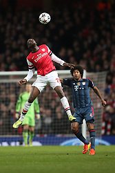 19.02.2014, Emirates Stadion, London, ENG, UEFA CL, FC Arsenal vs FC Bayern Muenchen, Achtelfinale, im Bild Yaya Sanogo (Arsenal FC #22) bei einem Kopfball, Aktion, Action // during the UEFA Champions League Round of 16 match between FC Arsenal and FC Bayern Munich at the Emirates Stadion in London, Great Britain on 2014/02/19. EXPA Pictures © 2014, PhotoCredit: EXPA/ Eibner-Pressefoto/ Schueler<br /> <br /> *****ATTENTION - OUT of GER*****