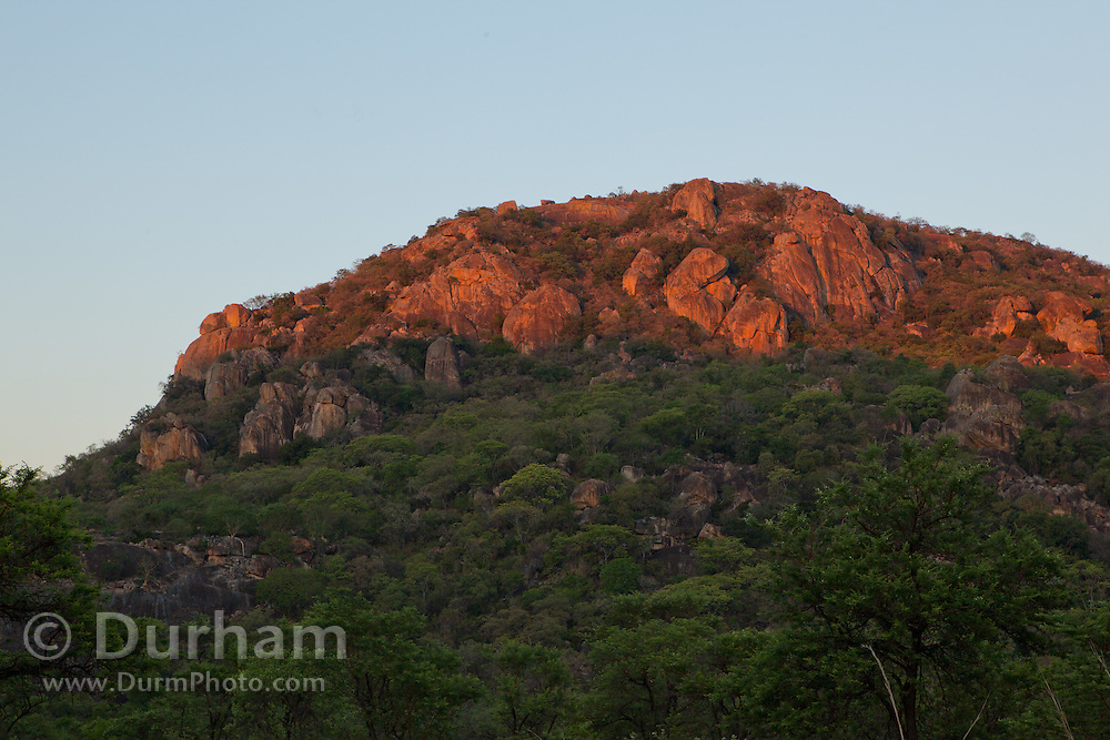 Granite dominates the landscape in Matobo National Park, part of the Motopos Hills area in Zimbabwe. The park is an U.N. UNESCO World Hertiage Site. © Michael Durham / www.DurmPhoto.com