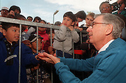 "Fred Rogers, host of Public Television's ""Mister Rogers' Neighborhood,"" greets some of his young fans after receiving a star on the Hollywood Walk of Fame in the Hollywood area of Los Angeles. Rogers, who was honored with the 2,101st star, is celebrating the 30th anniversary of the show."