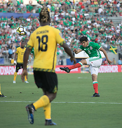 July 23, 2017 - Pasadena, California, U.S - Erick Gutierrez #8 of Mexico takes a shot into goal during their Gold Cup Semifinal game with Jamaica at the Rose Bowl in Pasadena, California on Sunday July 23, 2017. Jamaica defeats Mexico, 1-0. (Credit Image: © Prensa Internacional via ZUMA Wire)