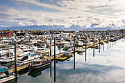 The City of Homer Port & Harbor marina on the Kachemak Bay overlooking the Kenai Mountains in Homer, Alaska.