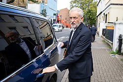 © Licensed to London News Pictures. 30/09/2019. London, UK. Leader of the Labour Party Jeremy Corbyn leaves his home this morning. Opposition leaders are due to meet later today to discuss Brexit plans. Photo credit : Tom Nicholson/LNP