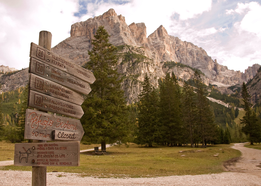 Hiking trail signs in Alta Badia in the Italian Dolomites.