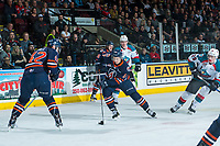 KELOWNA, CANADA - MARCH 31: Nic Holowko #14 of the Kamloops Blazers skates with the puck against the Kelowna Rockets on March 31, 2017 at Prospera Place in Kelowna, British Columbia, Canada.  (Photo by Marissa Baecker/Shoot the Breeze)  *** Local Caption ***