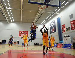 Bristol Flyers' Dwayne Lautier-Ogunleye attempt's a basket. - Photo mandatory by-line: Nizaam Jones/JMP - Mobile: 07966 386802 - 08/11/2014 - SPORT - Basketball - Bristol - SGS Wise Campus - Bristol Flyers v Sheffield Sharks - British Basketball League
