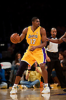 15 January 2010: Center Andrew Bynum of the Los Angeles Lakers against the Los Angeles Clippers during the first half of the Lakers 126-86 victory over the Clippers at the STAPLES Center in Los Angeles, CA.