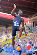 Marquise Goodwin (USA) wins the long jump at 27-7½ (8.42m) during IAAF Birmingham Diamond League meeting at Alexander Stadium on Sunday, June 5, 2016, in Birmingham, United Kingdom. Photo by Jiro Mochizuki