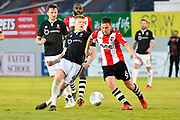 Elliott Whitehouse (4) of Lincoln City battles for possession with Jordan Tillson (6) of Exeter City during the EFL Sky Bet League 2 match between Exeter City and Lincoln City at St James' Park, Exeter, England on 17 May 2018. Picture by Graham Hunt.