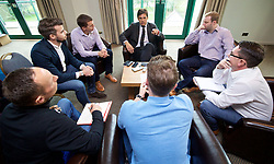 CARDIFF, WALES - Thursday, September 29, 2016: Wales' manager Chris Coleman speaks with the written press after a press conference to announce his squad ahead of the 2018 FIFA World Cup Qualifying Group D matches against Austria and Georgia at the Vale Hotel. (Pic by David Rawcliffe/Propaganda)
