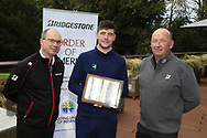 Colm Conyngham Bridgestone Ireland Frank  (?) with Rob Brazil (Naas) winner of the Bridgestone Order of Merit at the presentations in the GUI National Academy, Maynooth, Kildare, Ireland. 30/11/2019.<br /> Picture Fran Caffrey / Golffile.ie<br /> <br /> All photo usage must carry mandatory copyright credit (© Golffile   Fran Caffrey)