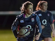 Ella Wyrwas during warm up, Army Women v U20 England Women at the Army Rugby Stadium, Aldershot, England, on 16th February 2017. Final score 15-38.