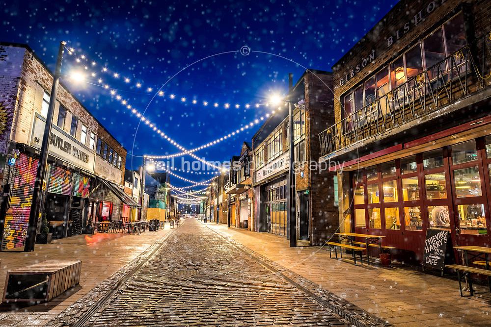 Humber Street, Kingston Upon Hull, East Yorkshire, United Kingdom, 22 January, 2018. Pictured: Lighting on Humber Street