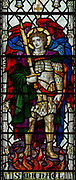 Stained glass window of Saint Michael,  Saint Thomas church, Salisbury, Wiltshire, England, 1920, James Powell and Sons