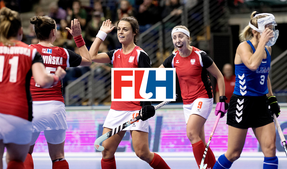 BERLIN - Indoor Hockey World Cup<br /> Women: Poland - USA<br /> foto: Marlena Rybacha celebrates.<br /> WORLDSPORTPICS COPYRIGHT FRANK UIJLENBROEK