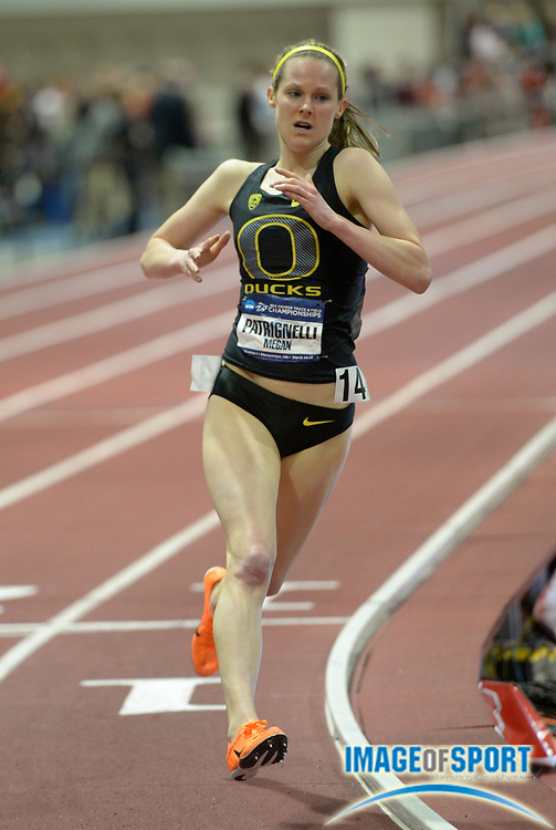 Mar 15, 2014; Albuquerque, NM, USA; Megan Patrignelli of Oregon competes in the womens 3,000m in the 2014 NCAA Indoor Championships at Albuquerque Convention Center.