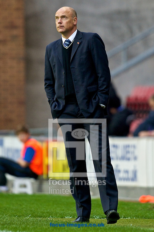 Wigan Athletic manager Uwe R&ouml;sler during the Sky Bet Championship match at the DW Stadium, Wigan<br /> Picture by Ian Wadkins/Focus Images Ltd +44 7877 568959<br /> 01/11/2014