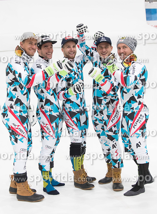 08.10.2016, Olympia Eisstadion, Innsbruck, AUT, OeSV Einkleidung Winterkollektion 2016, im Bild v.l. Max Franz, Vincent Kriechmayr, Marco Schwarz, Matthias Mayer, Marcel Hirscher // f.l. Max Franz Vincent Kriechmayr Marco Schwarz Matthias Mayer Marcel Hirscher during the Outfitting of the Ski Austria Winter Collection at the Olympia Eisstadion in Innsbruck, Austria on 2016/10/08. EXPA Pictures © 2016, PhotoCredit: EXPA/ Johann Groder