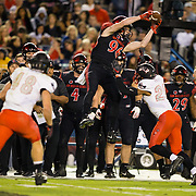 10 November 2018: San Diego State Aztecs wide receiver Elijah Kothe (96) makes a leaping catch on the sideline for an first down in the second quarter. The Aztecs lost 27-24 to UNLV Saturday night at SDCCU Stadium falling a game behind Fresno State in the conference standings.