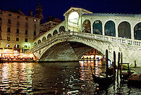 The imposing Rialto Bridge on the Grand Canyon at night in Venice, Italy.