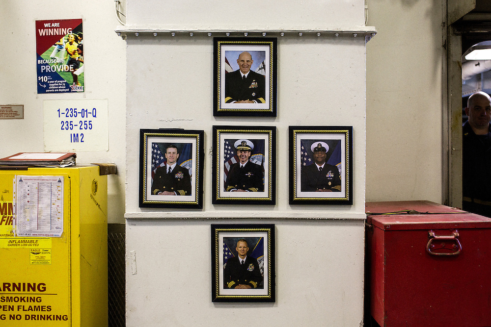 The officers in command of the Carrier Strike Group, including Rear Admiral Bret C. Batchelder at the top, onboard the ship<br /> <br /> Aboard the USS Harry S. Truman operating in the Persian Gulf. February 25, 2016.<br /> <br /> Matt Lutton / Boreal Collective for Mashable